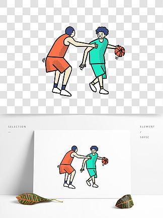 卡通矢量免摳扁平可愛打籃球的男生