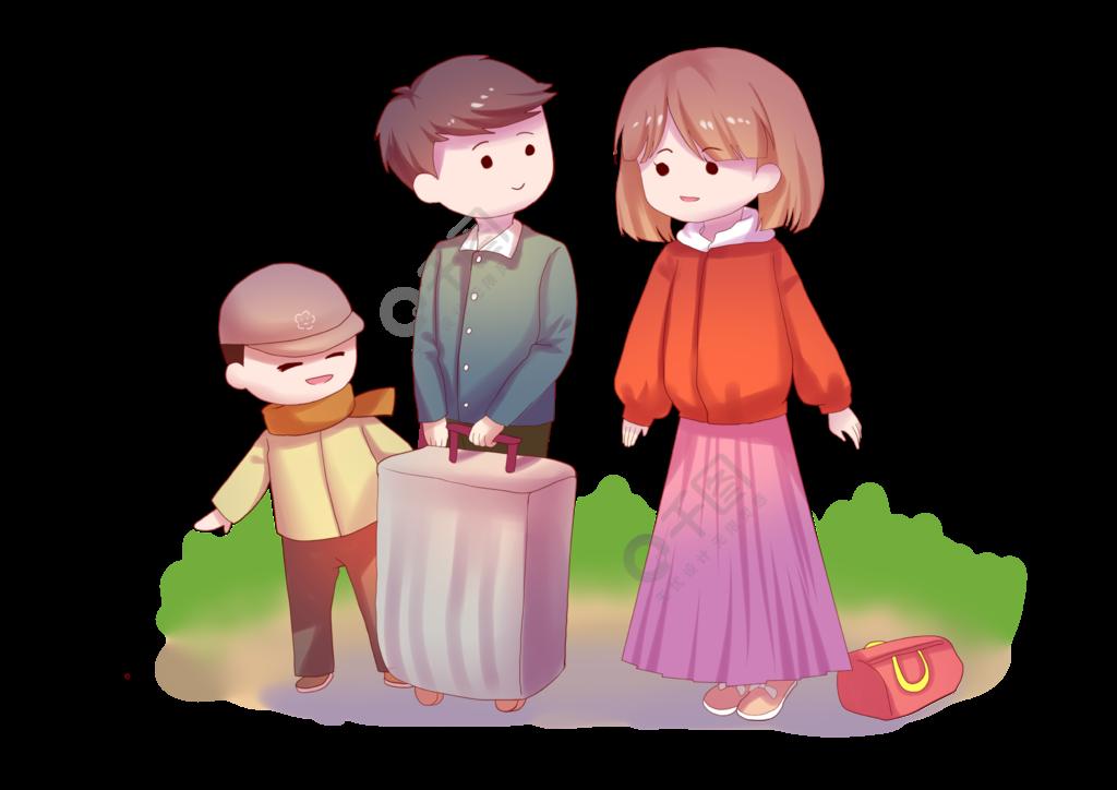 一家人带着行李回乡