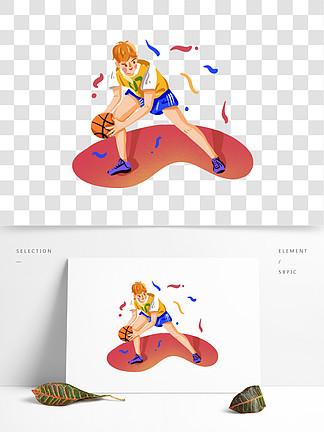 認真打籃球的男孩插畫png免摳素材