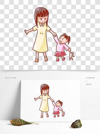 玩耍的小女孩插画