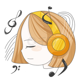 女孩带着耳机听音乐