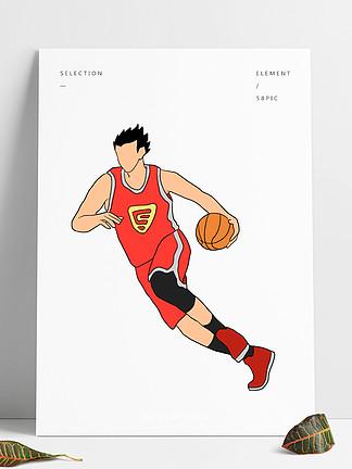 打籃球的男孩運動員插畫