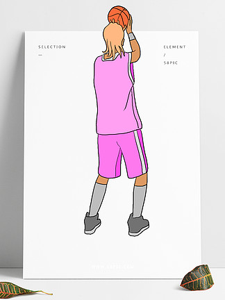 打籃球的小男孩插畫