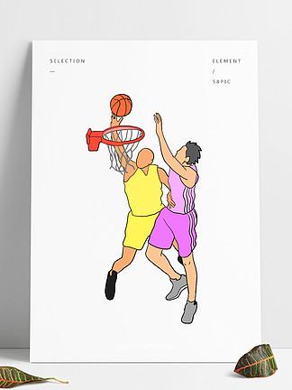 打籃球的男孩插畫