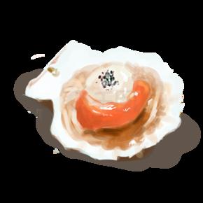 扇贝海鲜装饰插画