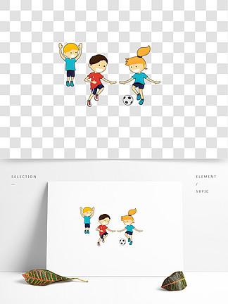 一群踢足球的小孩免扣图