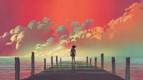 美丽的风景的妇女独自站在一个木码头看着五颜六色的云彩在天空中, 数字艺术风格, 插图画