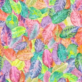 模式与水彩秋叶之静美