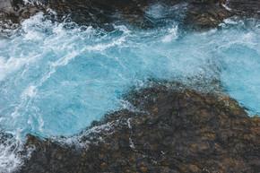 冰岛 Bruarfoss 瀑布美景水鸟瞰图