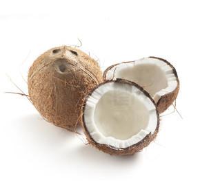 椰子整体和一半在白色背景上