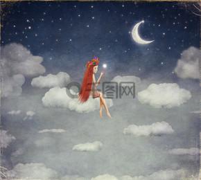云,点亮星在夜空上的年轻女性的形象
