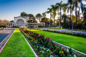 花园和 San Diego 巴尔博亚公园里的斯普瑞柯器官凉亭