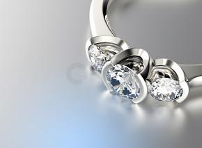 3d 插图的黄金与钻石环。珠宝背景