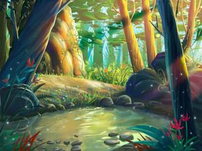 梦幻般的森林, 清晨的河畔, 以奇妙, 现实和未来的风格。视频游戏的数字 Cg 图稿, 概念插图, 逼真卡通风格场景设计