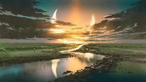美丽的山水之路, 在五彩缤纷的田园风光中抵御乌云和新月的天空, 数码艺术风格, 插画绘画