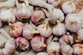 特写大蒜和大蒜丁香 wodeen 背景上。遗传算法