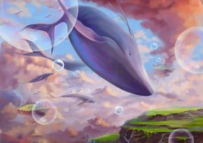 一个神奇的仙境与飞行的土地和鲸鱼。神奇的卡通风格壁纸背景场景设计与故事。-插图