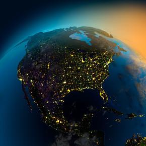从卫星的北美地区夜景