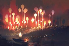 梦幻森林与发光的树和人在船上的夜景