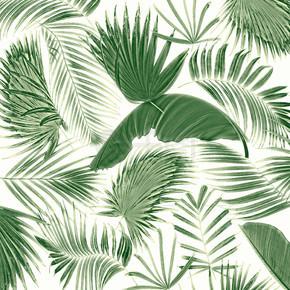 混合棕榈叶树背景