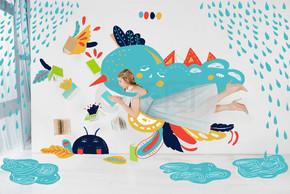 漂浮的女孩在蓝色礼服阅读书与雨例证