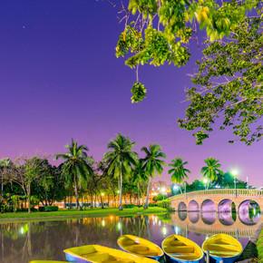 在公园里,晚上湖上的船