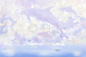 飞鲸和小船。信纸, 笔记本封面背景, 水彩风格数字艺术品