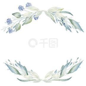 空的手绘花框,带有文字空间