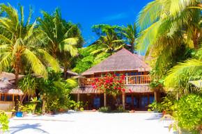 漂亮的房子,到一个芦苇屋顶站在白色的沙滩上
