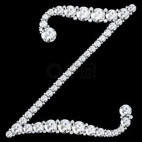 由钻石和宝石制成的 Z 字母