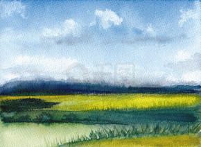 水彩画的夏日山水与群山、蓝天、云彩、碧绿的空地。抽象手绘背景。纹理纸。手工绘制的性质。乡村插图与丘陵和草.