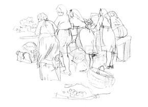 市集广场的手绘草图