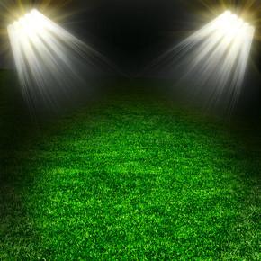 绿色的足球场与光