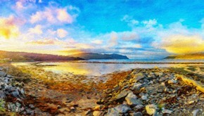 斯堪的纳维亚的性质。美丽的落日,在 Olderfjord 村