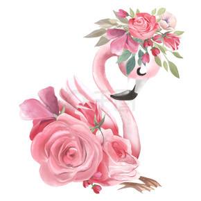 可爱的梦想粉红色火烈鸟与鲜花和花环在白色背景