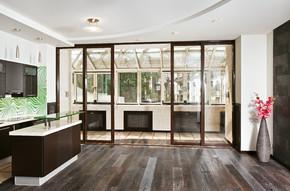 现代客厅和厨房内部