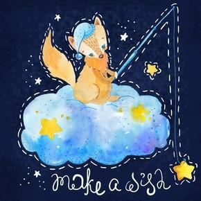 卡通夜景与可爱云与恒星