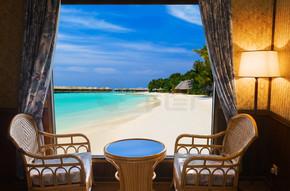 酒店房间和热带景观