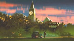 男子与他的卡车站在老教堂前面的森林日落, 数字艺术风格, 插图画