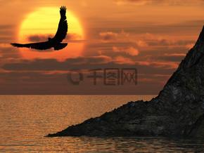 鹰和梦幻般的日落