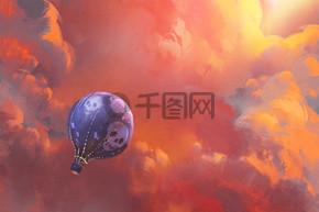 在与红云天空中漂浮的气球