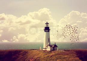 海洋海岸线上的灯塔