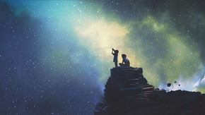 夜景两兄弟在户外, llittle 男孩透过望远镜看星空, 数码艺术风格, 插画画