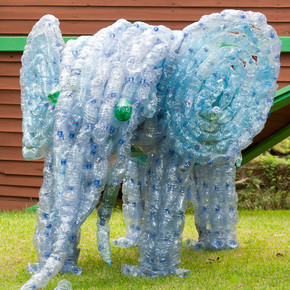 从塑料瓶做的大象