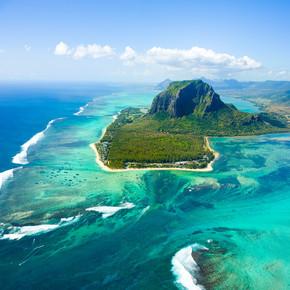 毛里求斯岛的空中景观