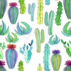 复杂的美丽可爱墨西哥夏威夷热带花卉草药夏季炫彩花纹的仙人掌花画象儿童水彩和一支笔的手图