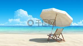 沙滩椅和田园热带沙滩上的伞。无噪音、 清洁,非常详细的 3d 呈现。休息、 休闲、 假日、 水疗中心、 度假村设计的概念.