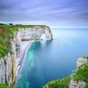 埃特尔塔、 manneporte 天然岩石拱桥和其海滩。诺曼底 f