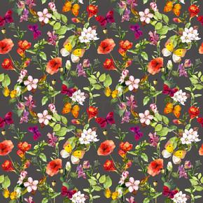 夏天草地的野花和蝴蝶。没头没脑重复的花卉图案的壁纸。水彩