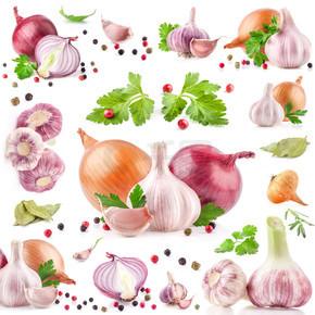 大蒜和洋葱与胡椒和香菜的集合
